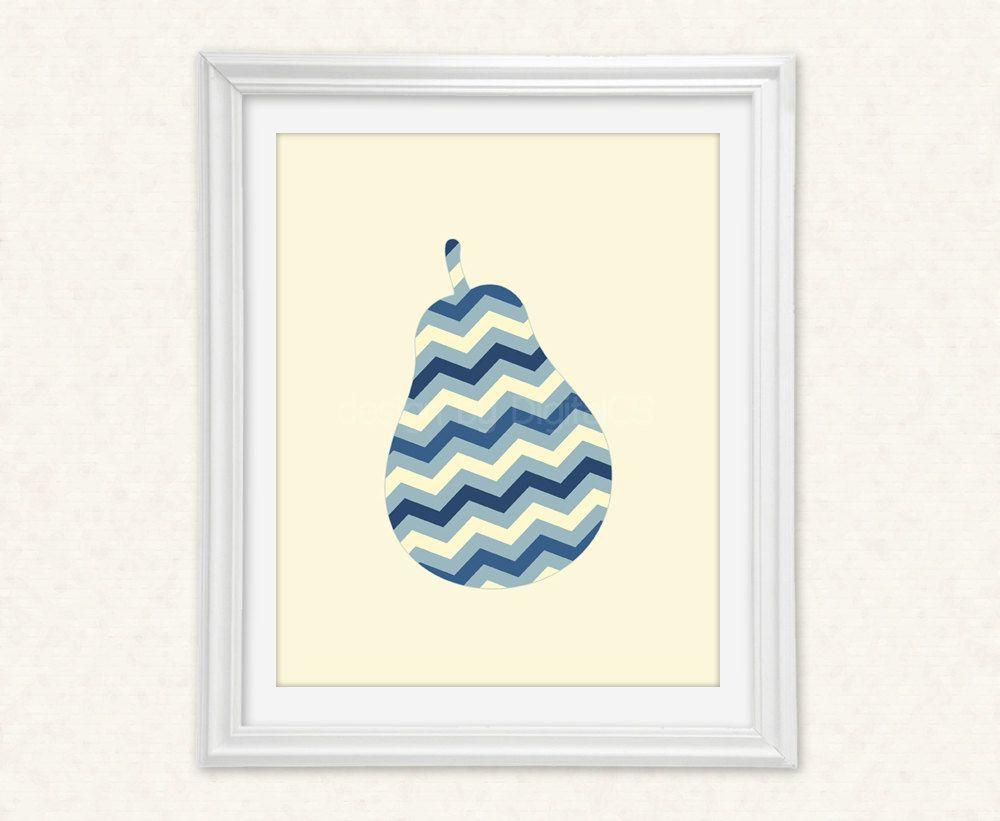 Chevron Print Pear Art Pear Art Printable Art