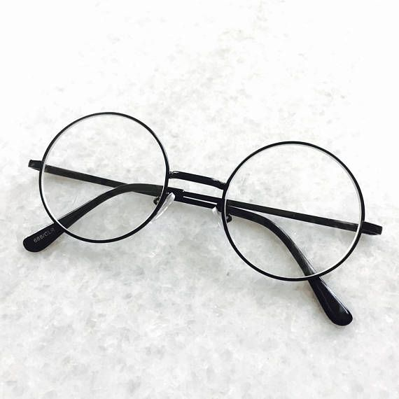 Classic Clear Lens John Lennon Circle Black Round Frame   Óculos ... 91ce698445