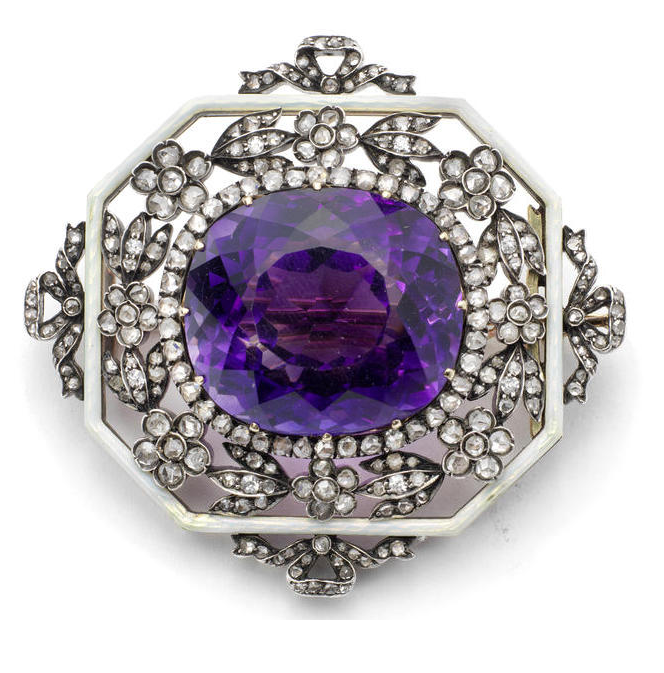 A gold, platinum, amethyst, diamond and guilloché enamel brooch marked Fabergé, indistinct town mark, probably St. Petersburg, 1908-1917, scratched inventory numbers 1599 and 84557shaped octagonal, the central cushion-cut amethyst surrounded by rose-cut diamonds, the openwork surround with rose and old-cut diamond flowers with oyster guilloché enamelled border, further enriched with diamond-set ribbon surmounts to four sides