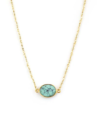 Elizabeth Stone for JEWELMINT COLLECTIVE    Sea foam color turquoise set in 14k gold vermeil bezel. Hand wired delicate chain. 18 total length.This JewelMint Collective piece is made to order just for you by our Collective Designer. Because of the unique design, it takes up to four (4) weeks to create and deliver this piece - and it's very much worth the wait, we promise!     Note: Certain promo codes and offers may not be used on JewelMint Collective pieces. All Collective pieces have a…