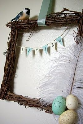 feather wreath pinterest | square-twig-wreath-with-a-big-white-feather-spring-banner-bird-perched ...