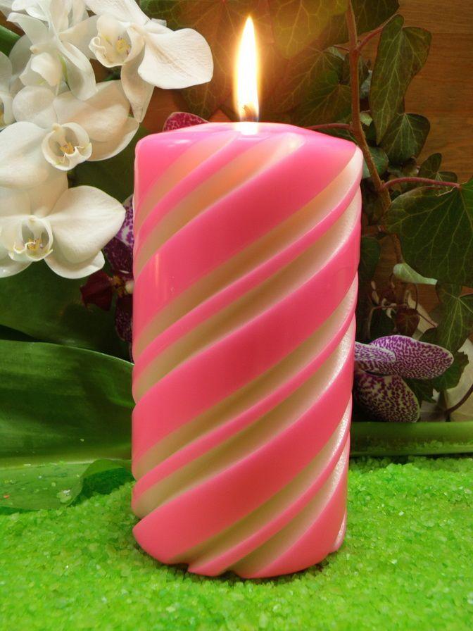 Svíčka vyřezávaná růžová svÍČky a svÍcny