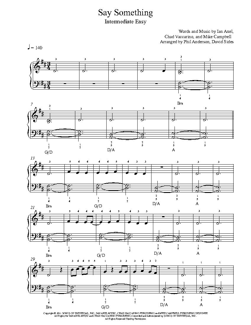 Say Something By A Great Big World Piano Sheet Music