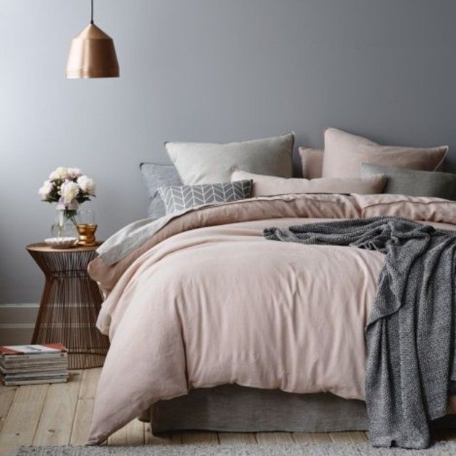 Sunday = lie in #bed #bedroom #grey #pink #copper #interiordesign #cosy #pillows…