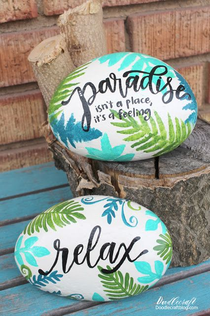 Photo of Tropical Ferns Paradise Painted Rocks