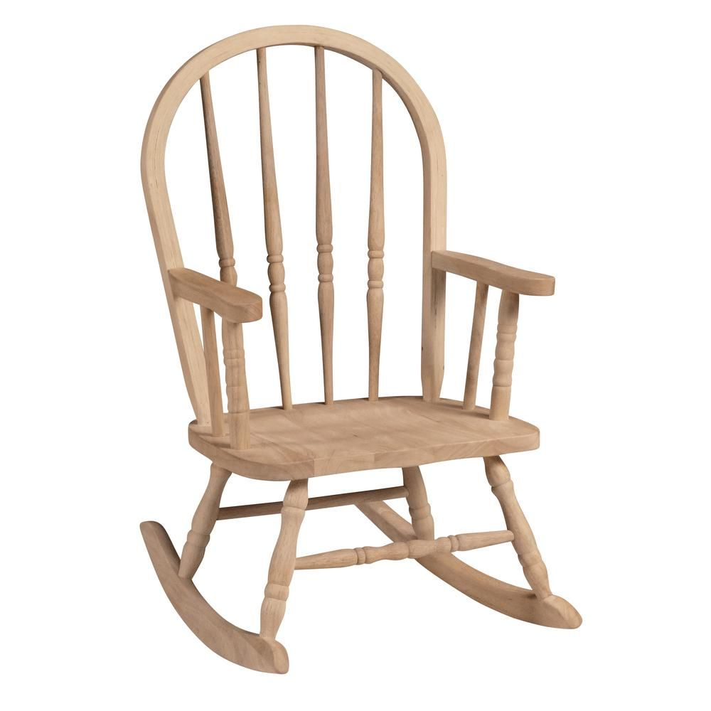 International Concepts Unfinished Wood Rocking Windsor Kids Chair 1cc 2140 The Home Depot Kids Chairs Wooden Rocking Chairs Rocking Chair