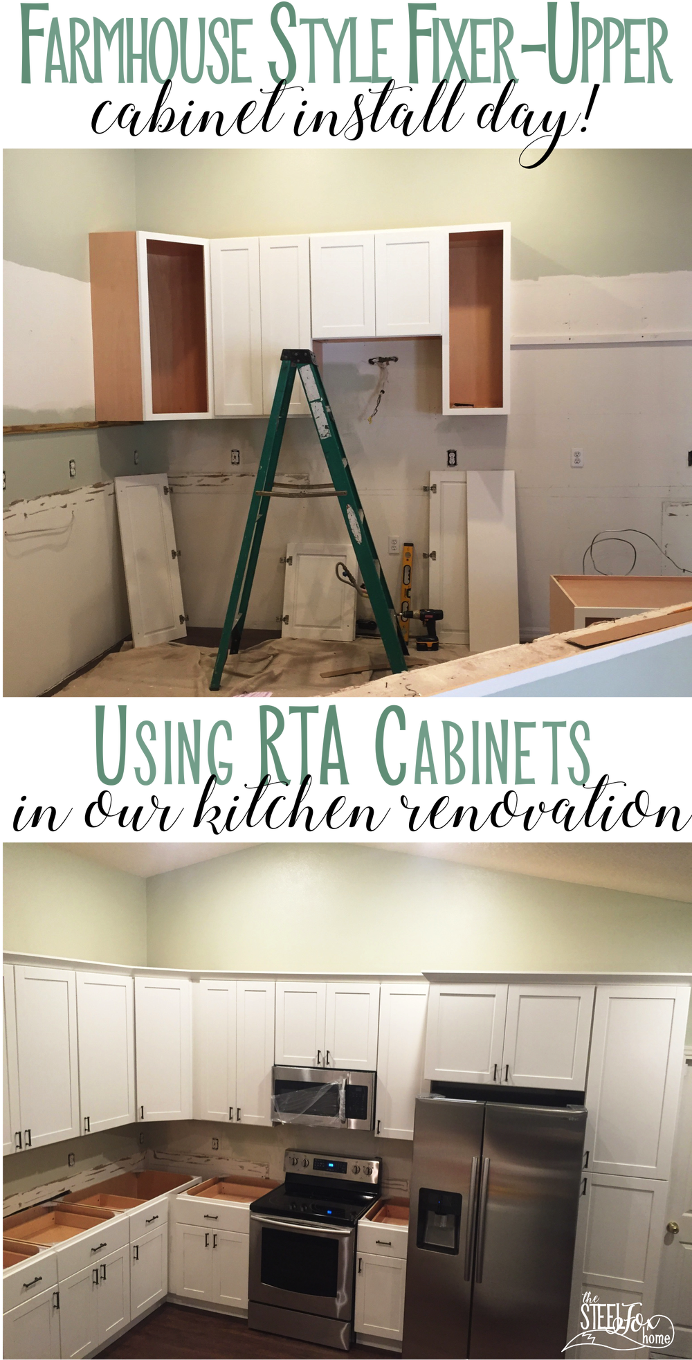 Finally Getting Kitchen Cabinets Installed In Our Fixer Upper Shaker White Farmhouse Kitchen Cabinets Rta Ready Installing Cabinets Kitchen Cabinets Cabinet