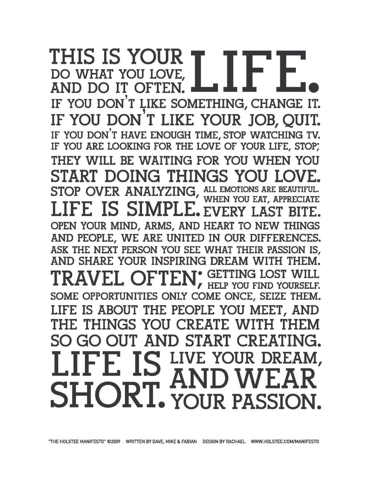 This Is Your Life Quote Poster Manifesto Poster 18X24  Wisdom Inspirational And Thoughts