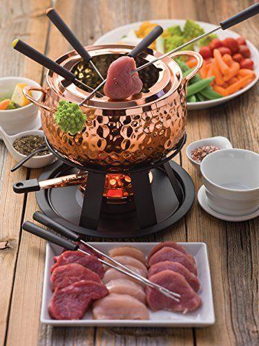 Swissmar 11 Piece Biel Meat Fondue Set Copper Fondue Recipes Meat Fondue Recipes Recipes