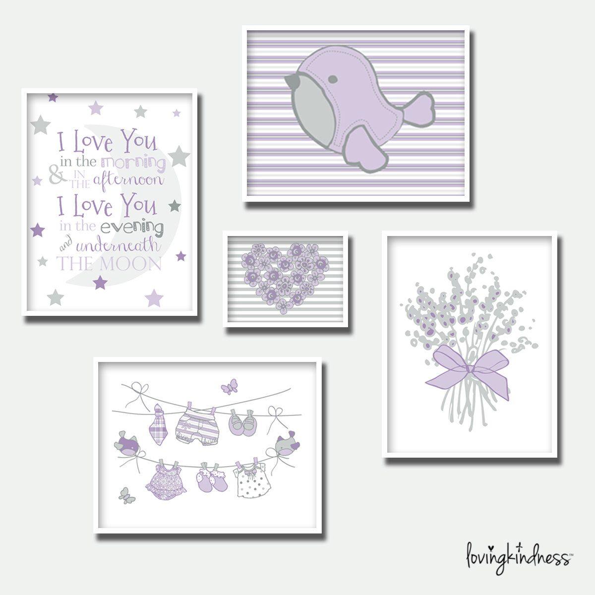 Girl nursery wall art lilac dreams group purple wall art print