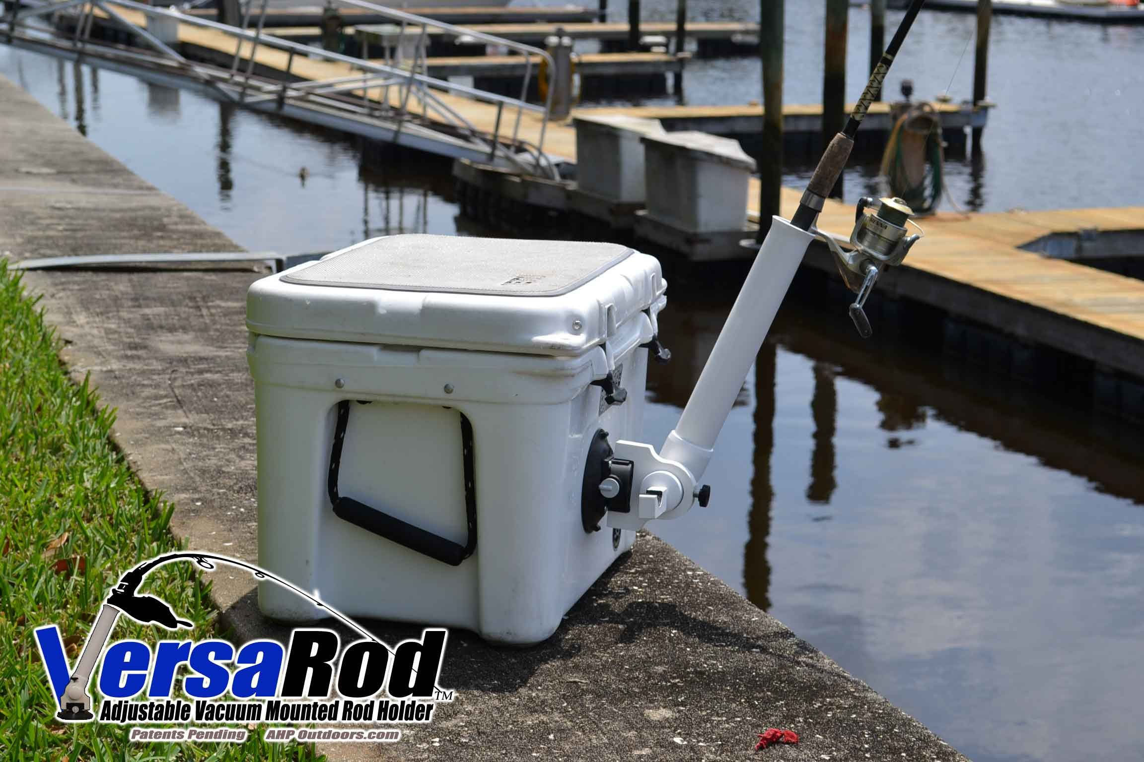 Versa rod vacuum mounted rod holder on a yeti cooler it for Boat fishing rod holders