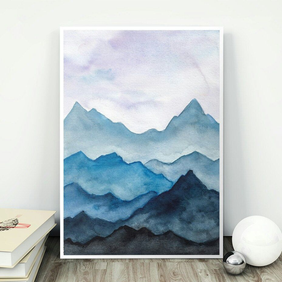 Silent Blue Mountains Mountain Art Print Monochromatic Paintings