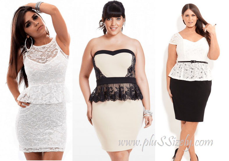 Plus Size White Lace Peplum Dress In Many Designs My