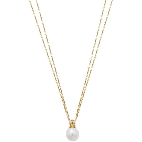 London Road 9ct Yellow Gold Double Chain Pearl Pendant Necklace (€535) ❤ liked on Polyvore