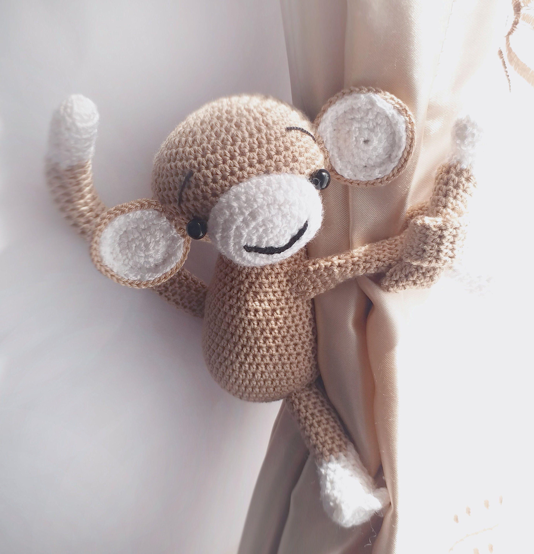 Monkey Curtain Tie Back 1 Pcs Crochet Monkey Monkey Tieback