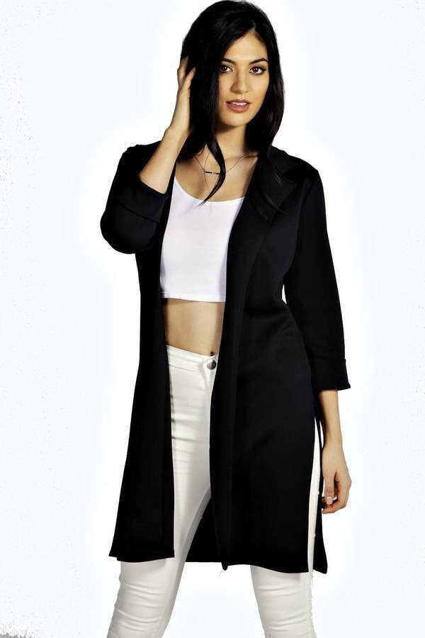 $30, Black Duster Coat: Boohoo Tara Side Split Scuba Duster Coat. Sold by BooHoo. Click for more info: https://lookastic.com/women/shop_items/288546/redirect