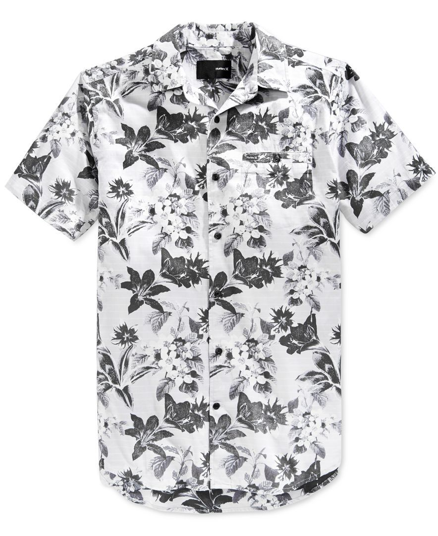 Hurley Men's Meadowlark Floral-Print Short-Sleeve Shirt | Shirts ...