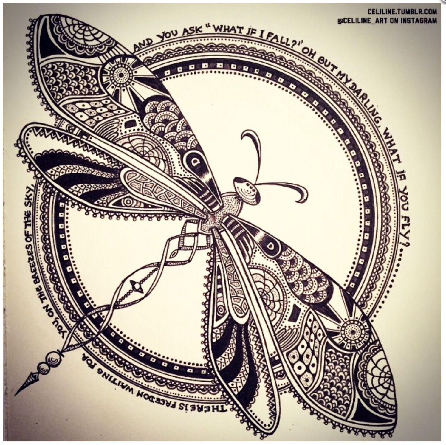Tegninger - Doodle   Arty   Pinterest   Mandalas, Libélulas y Dibujo