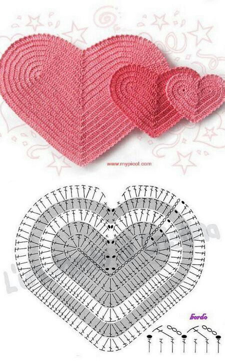 Crochet heart pattern / Diagrama de corazón de ganchillo | Crochês ...
