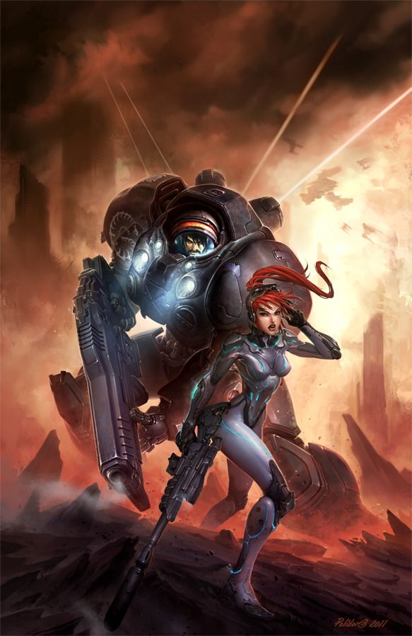 Starcraft Flashpoint Picture  (2d, sci-fi, characters, soldiers, girl, weapons)