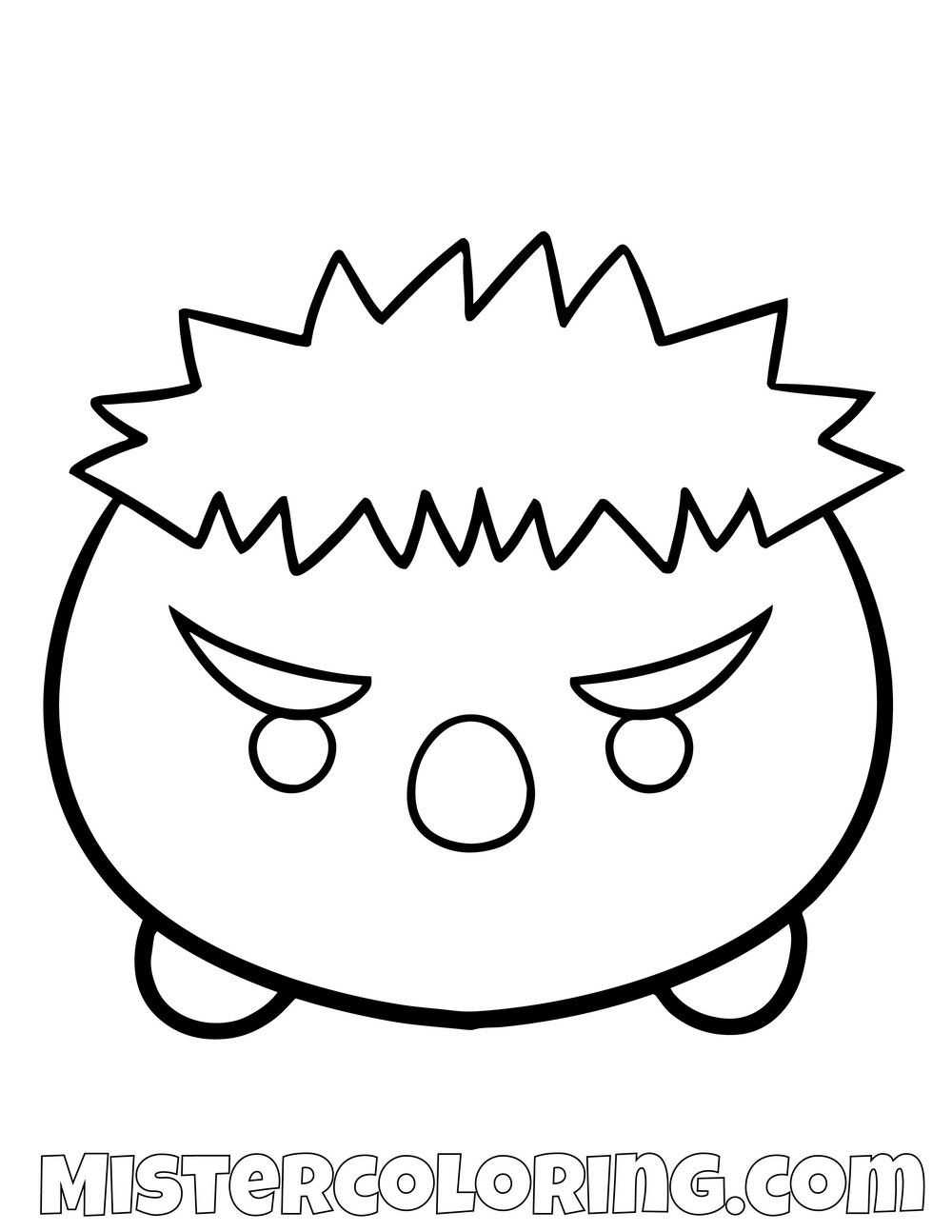 The Hulk From Avengers Tsum Tsum Coloring Pages For Kids With