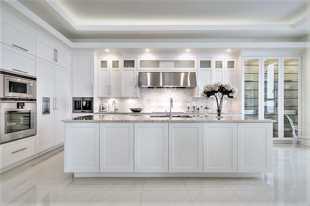 White shaker Kitchen cabinet design with glass door. Try ...