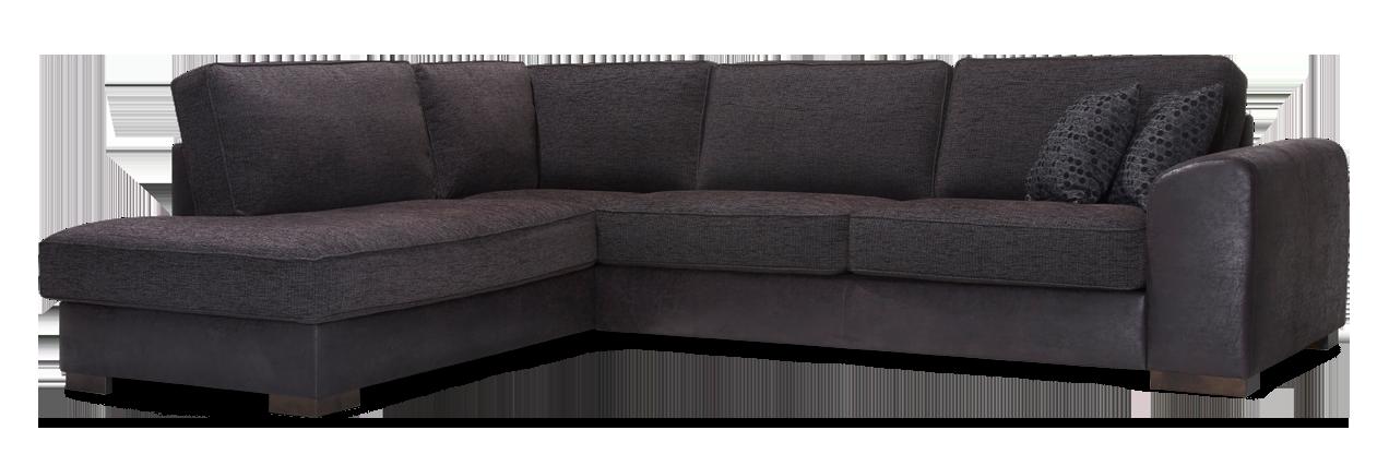 Linjakas kulmasohva, jonka kulmaosa joko oikealla tai vasemmalla puolella.  Rungon väriantiikkimusta ja istuinosa tummanharmaa.