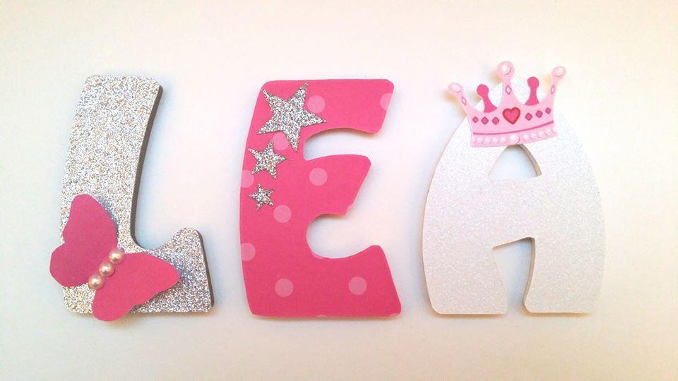 Pr nom lettre bois th me princesse lettres et pr noms - Lettre decorative a peindre ...