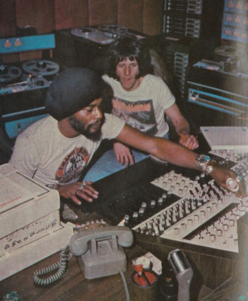 George Clinton at the mixing board, 1970s...Diggin' them jewels.