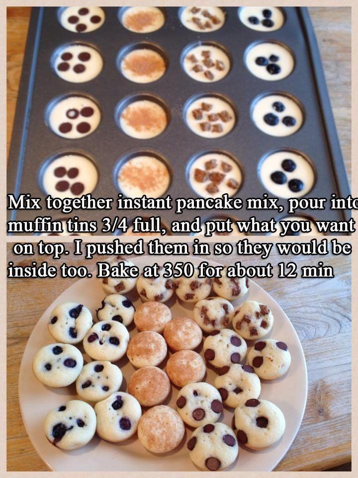 Mini pancakes using muffin tins recipe yummy pinterest pancake bites use an actual pancake recipe ccuart Image collections