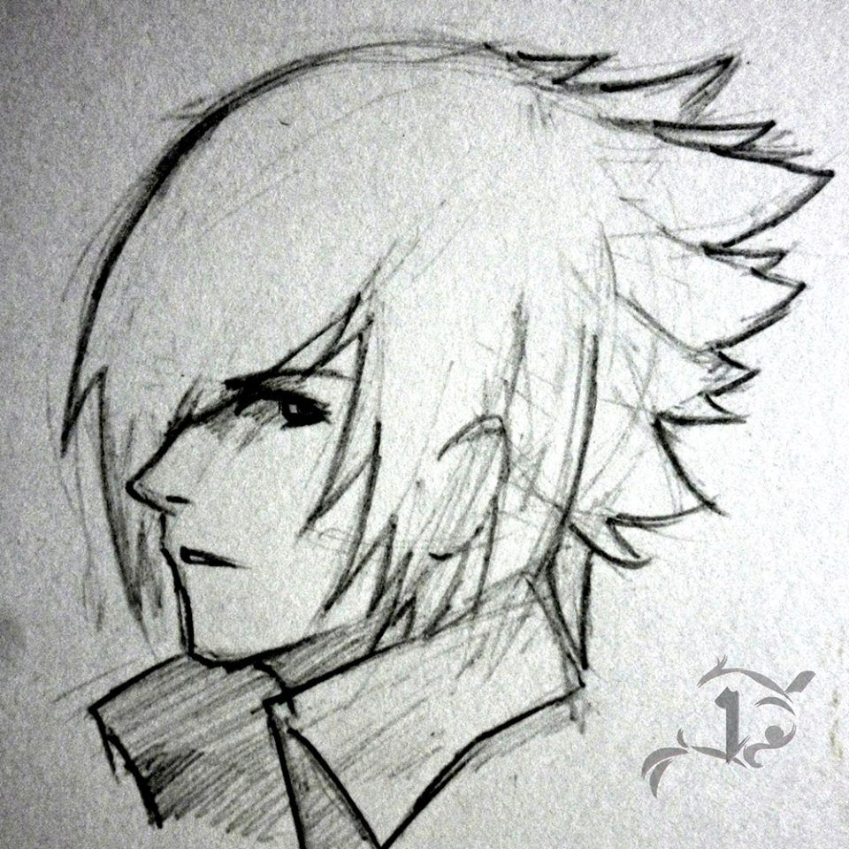 Dont call me cute sketchpencil drawing anime guy boy noctis ff character headshot doodle