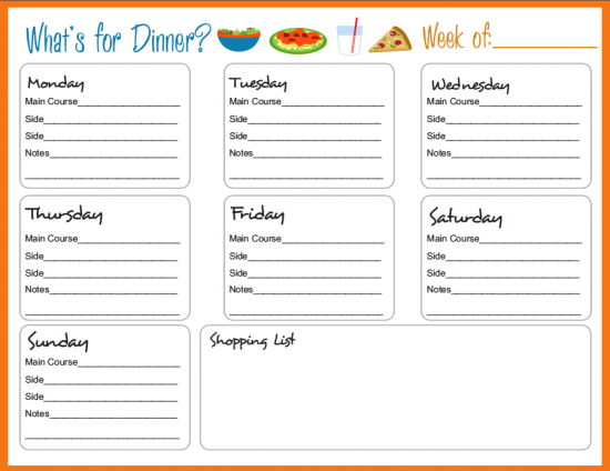 30 Family Meal Planning Templates weekly monthly budget – Free Menu Planner Template