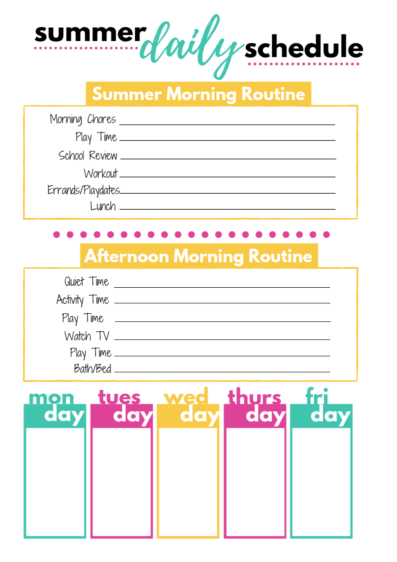 Summer Daily Schedule Template | Daily schedule template ...