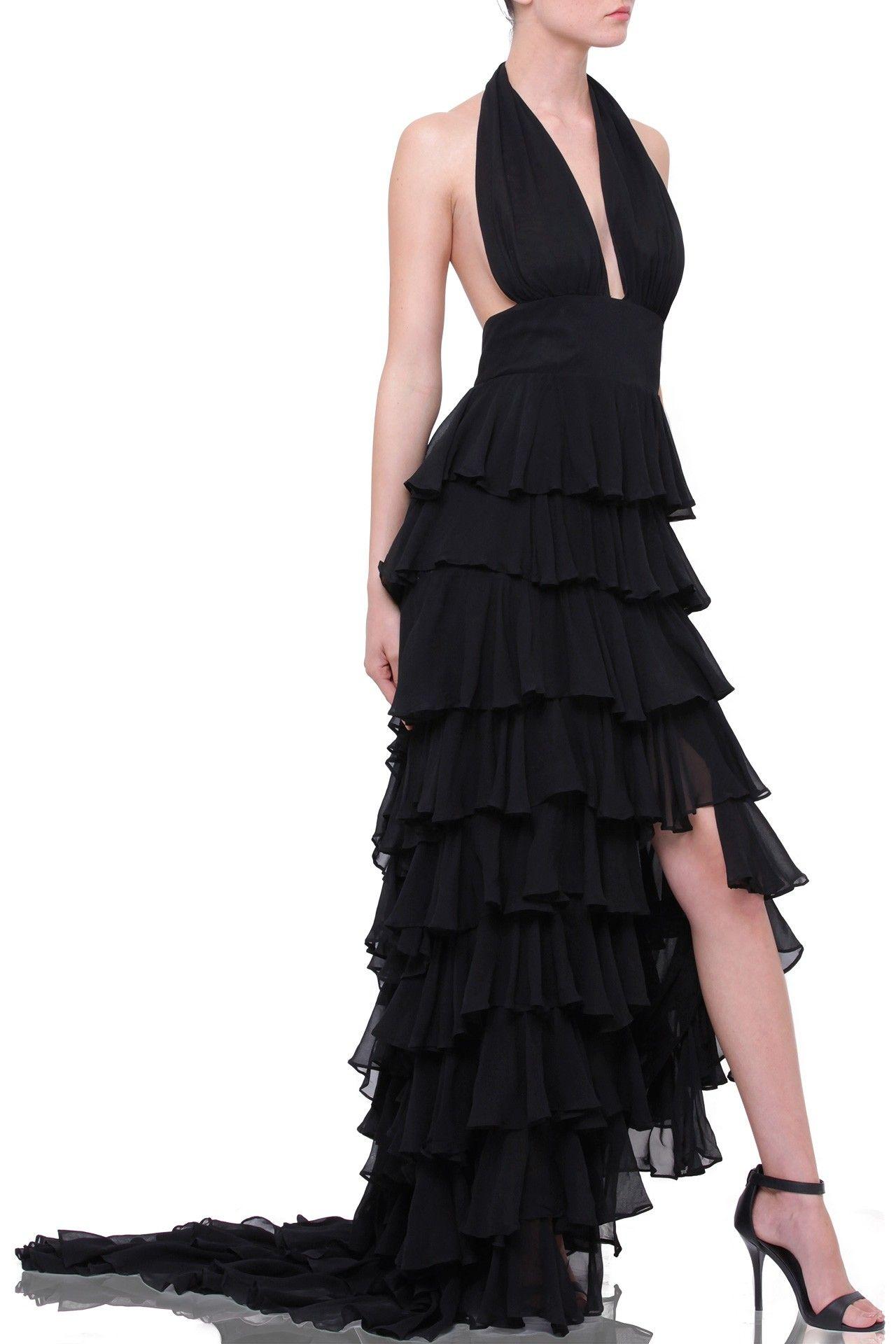 Black cascading long ruffle dress shahida parides evening