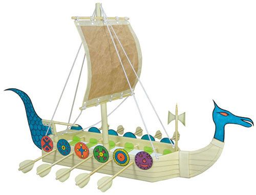 Kids Craft Project From Recyclables For Making A Viking Ship