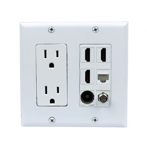 Multifunctional Combination 2x Power Outlet 3x Hdmi 1x Coax 1x Cat5e 1x Toslink Wall Plate White Plates On Wall Wall Outlets Power Outlet
