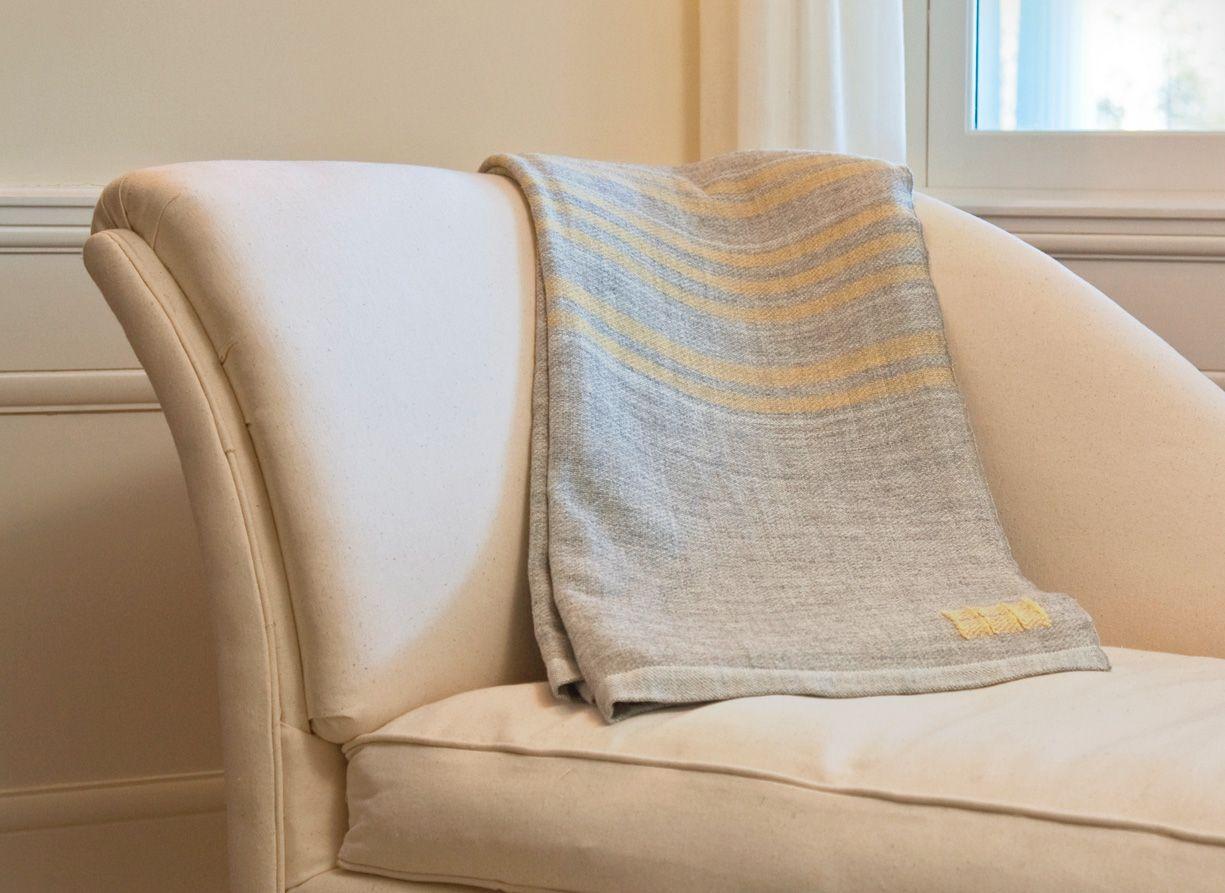 Yellow striped blanket throw