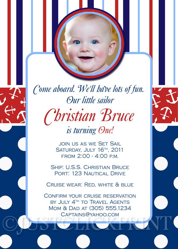 Little Sailor Nautical Birthday Photo Invitation