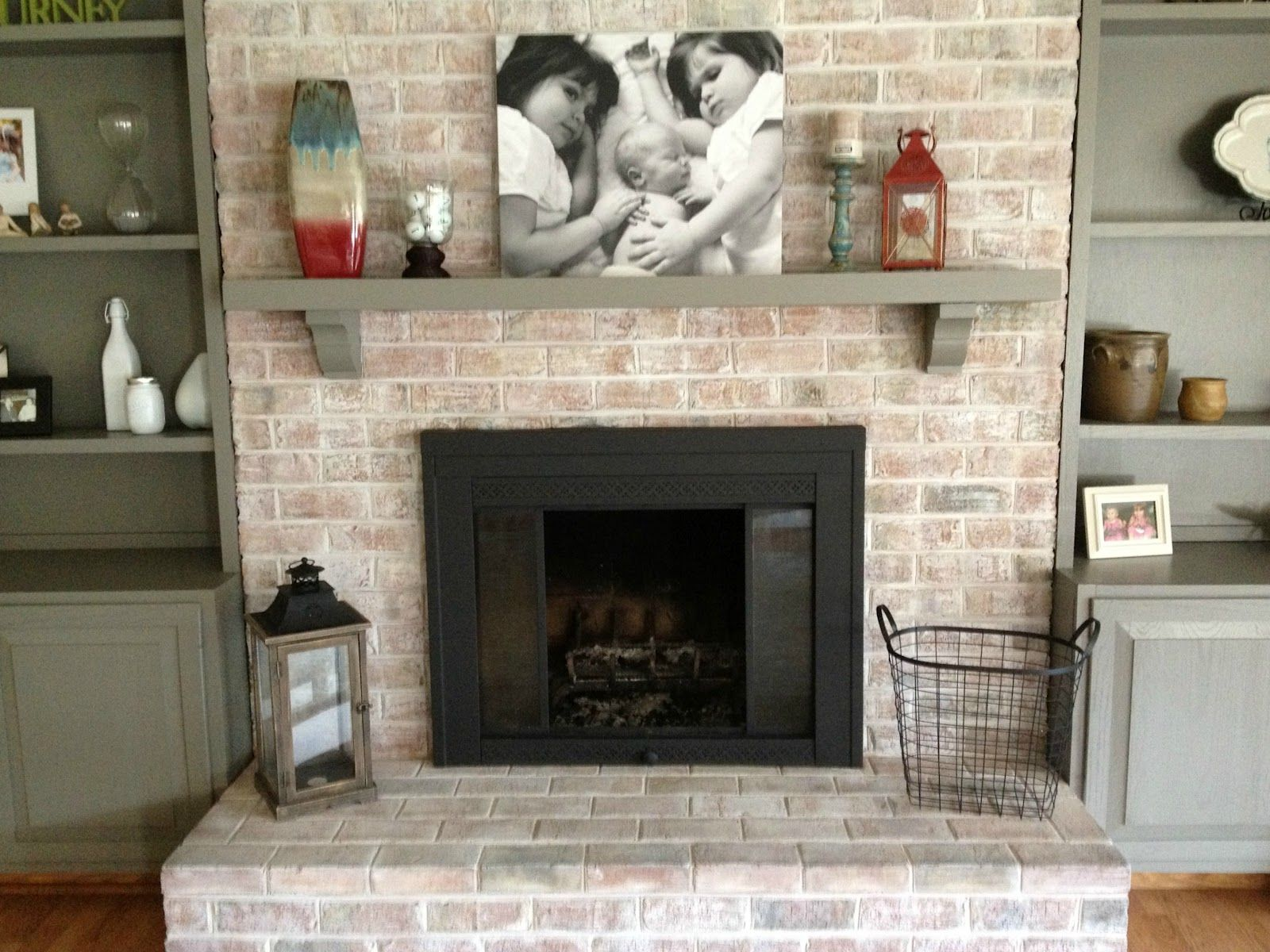 how to paint a brick fireplace | bricks, brick fireplace and mantle