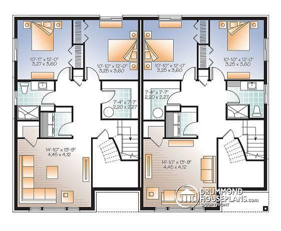 6 bedroom house plans with basement for Semi detached house plans with garage