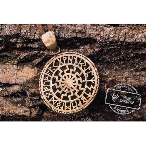 Black sun symbol with runic calendar bronze pendant celtic black sun symbol with runic calendar bronze pendant aloadofball Gallery