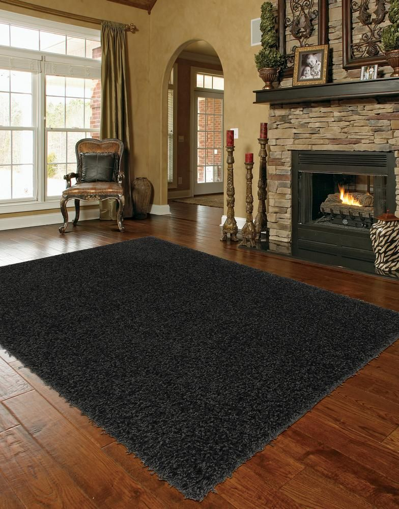 Gy Extra Large Black Area Rug