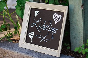 Wedding bar signage - chalkboard paint + chalkboard markers - Photo from Carlyn + Sean | Wedding Collection collection by lindsay ferraris photography