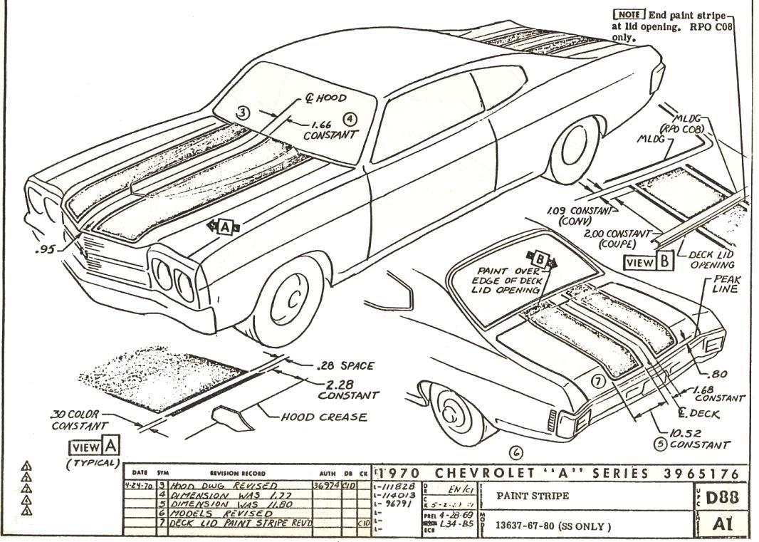 70 chevelle stripe dimensioning blueprints