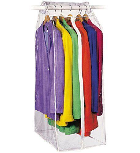 Amazon Com Clear Vinyl Framelss Suit Bag 15 X22 X42 Home Kitchen Vinyl Storage Garment Cover Closet Accessories