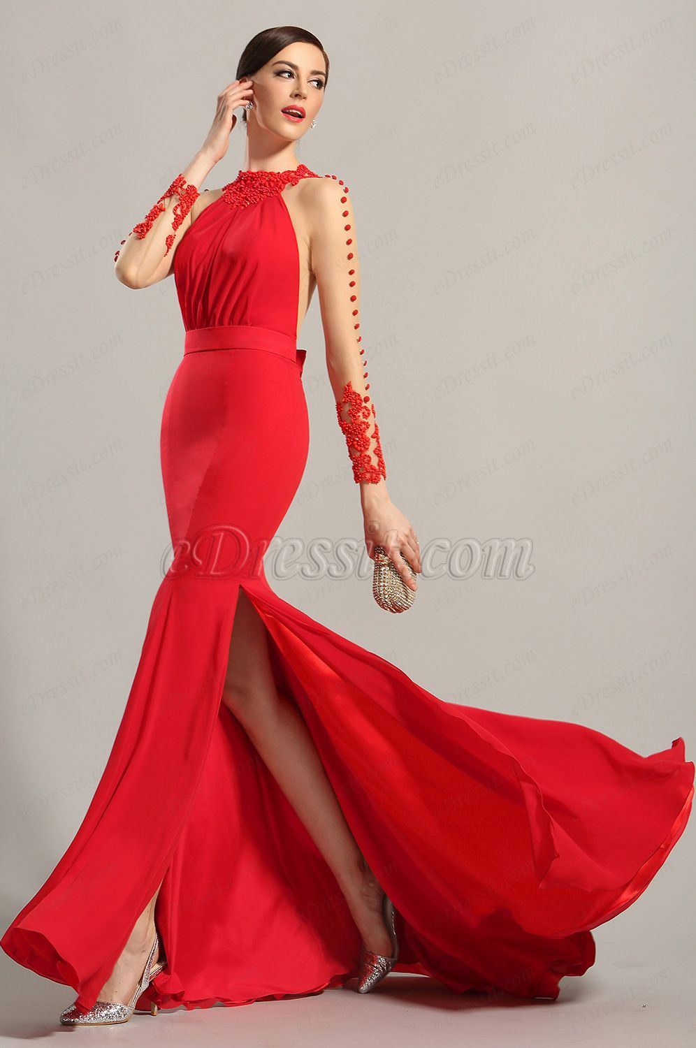 Edressit long sleeves red evening dress prom gown