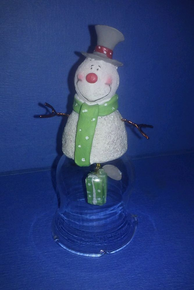 Christmas Snowman Clear Glass Bell by American Greetings