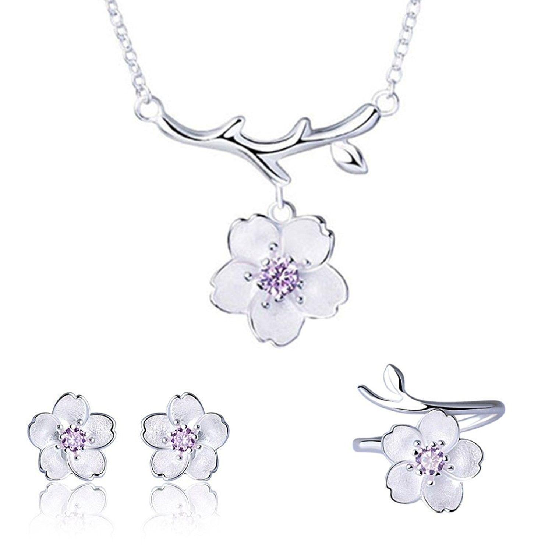 sterling silver daisysakurasnowflake flower crystal pendant