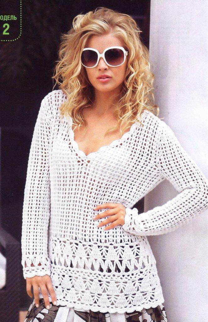 Crochet - Túnica Branca | Crochet | Pinterest | Blusas, Jersey ...