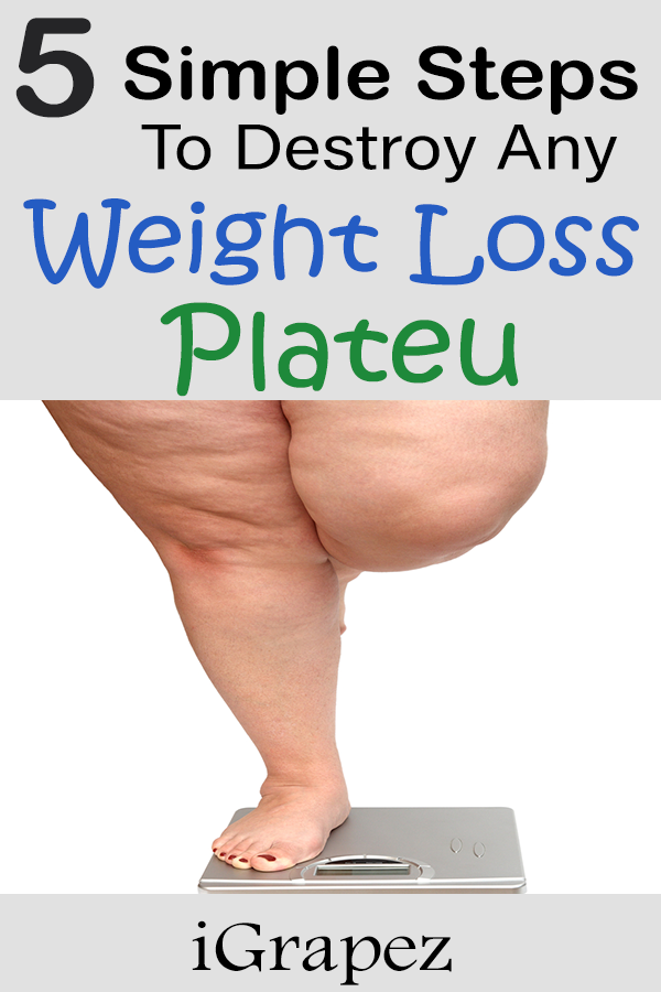 Learn the 5 simple steps to destroy any weight loss plateau. #weightlosstips #fitness #iGrapez